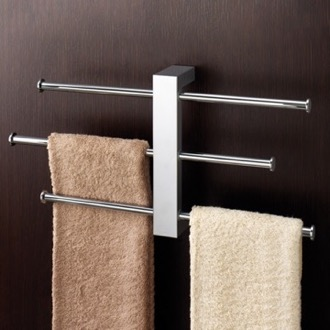 Polished Chrome Wall Mounted Towel Rack Wi...