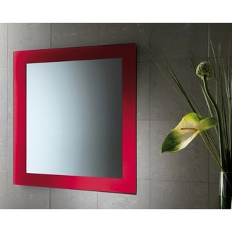 Vanity Mirror 24 x 28 Inch Red Vanity Mirror With Lacquered Frame Gedy 7800-06