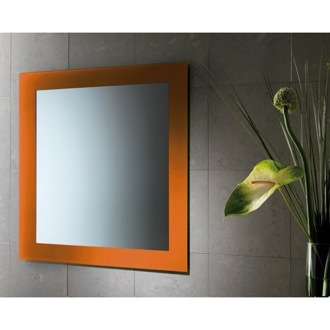Vanity Mirror 24 x 28 Inch Vanity Mirror With Orange Lacquered Frame Gedy 7800-67