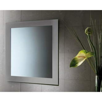 Vanity Mirror 24 x 28 Inch Silver Vanity Mirror With Lacquered Frame Gedy 7800-73