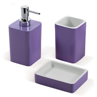 Bathroom Accessory Set Lilac Accessory Set Made of Thermoplastic Resins Gedy ARI200-79