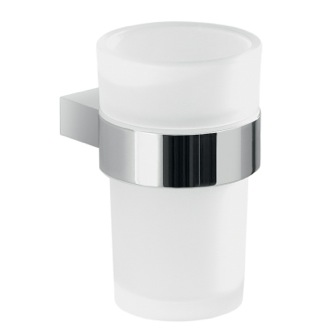 Wall Mount Frosted Glass Toothbrush Holder With Chrome Mounting Gedy A210-13