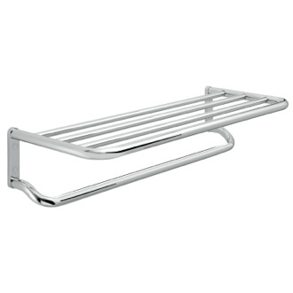 Contemporary Chromed Brass and Aluminum Bathroom Shelf with Towel Bar Gedy A235-13