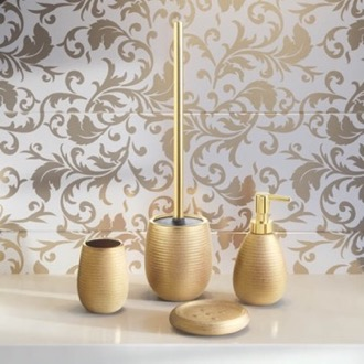 Gold Four Piece Bathroom Accessory Set Gedy AD100-87