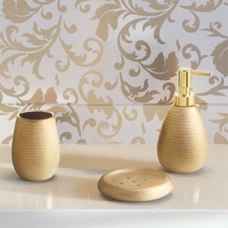 Gold Three Piece Bathroom Accessory Set Gedy AD200-87