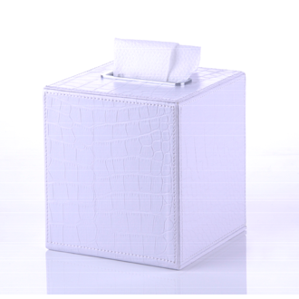Tissue Box Cover Crocodile Square Tissue Box Made From Faux Leather in White Finish Gedy AL02-02