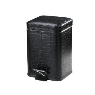 Waste Basket Crocodile Waste Basket Made From Faux Leather in Black Finish AL09-14 Gedy AL09-14
