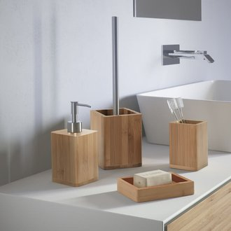 Bambu Natural Wood Bathroom Accessory Set Gedy BA100