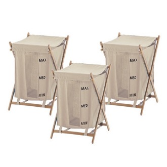 3 Piece Beige Laundry Baskets Gedy BU380-03