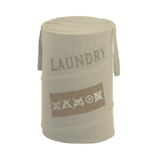 Round Beige Laundry Basket Gedy CO38-03