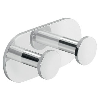 Bathroom Hook Chromed Aluminum Adhesive Mounted Double Bathroom Hook D026-13 Gedy D026-13