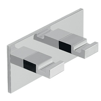Adhesive Mounted Square Chrome Aluminum Double Hook Gedy D126