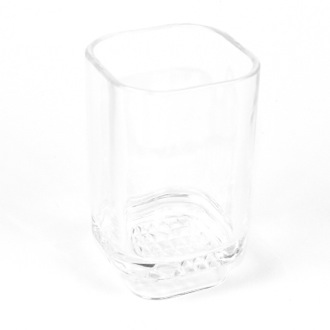 Transparent White Gedy Tiglio Free Standing and Glass Tumbler