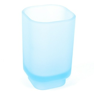 Toothbrush Holder Free Standing Sky Blue Frosted Glass Tumbler 1098-S6 Gedy 1098-S6