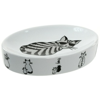Soap Dish White Soap Holder with Cat Picture Gedy 1811-4176
