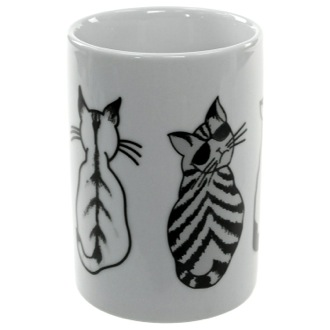 Toothbrush Holder White Tumbler with Cat Picture 1898-4176 Gedy 1898-4176