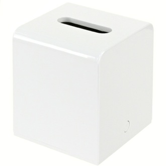 Tissue Box Cover White Square Tissue Box Cover Made of Thermoplastic Resins Gedy 2001-02