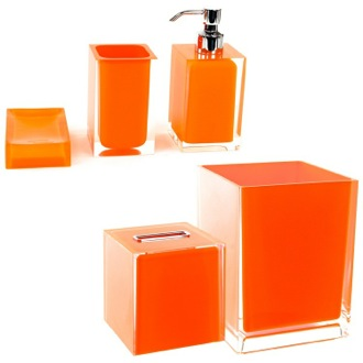 Lovely Bathroom Accessory Set Orange 5 Piece Accessory Set Gedy RA2011 67
