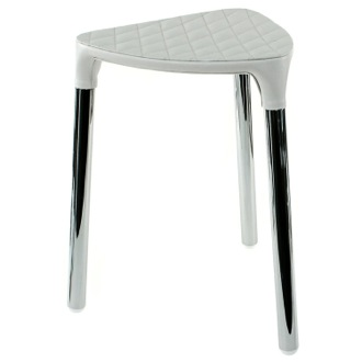 Bathroom Stool White Faux Leather Stool Gedy 2172-24