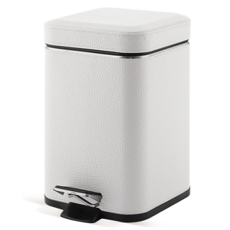 Waste Basket Square White Faux Leather Waste Bin With Pedal 2209-02 Gedy 2209-02