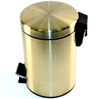 Round Polished Bronze Waste Bin With Pedal Gedy 2609-44