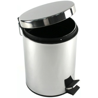 Round Polished Chrome Waste Bin With Pedal Gedy 2709-13