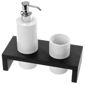 Bathroom Accessory Set Wenge Soap Dispenser and Tumbler Combo Gedy 3399-78