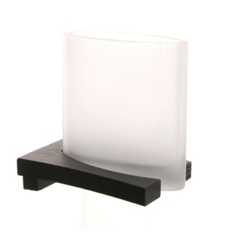 Frosted Glass Tumbler with Wenge Base Gedy 3610-78