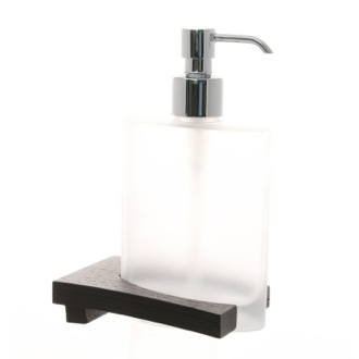 Soap Dispenser Frosted Glass Soap Dispenser with Wenge Base 3681-78 Gedy 3681-78