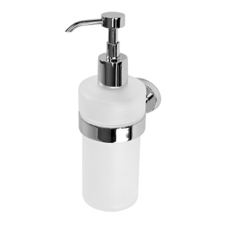 Soap Dispenser Wall Mounted Round Frosted Glass Soap Dispenser With Chrome Mounting Gedy 3781-13