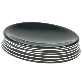 Countertop Anthracite and Silver Round Soap Holder Gedy 3911-57