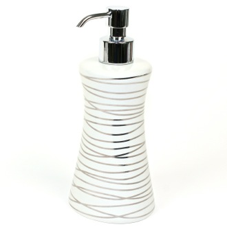 Soap Dispenser Grey and Silver Ceramic Round Soap Dispenser with Chrome Hand Pump Gedy 3981-73