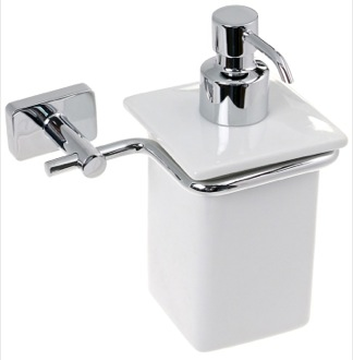Soap Dispenser Wall Mounted Porcelain Soap Dispenser With Chrome Mounting 6681-13 Gedy 6681-13