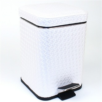 Square Pearl White Faux Leather Waste Bin with Pedal Gedy 6709-42