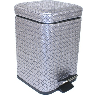 Waste Basket Square Old Silver Faux Leather Waste Bin With Pedal 6709-77 Gedy 6709-77