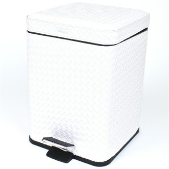 Square Pearl White Faux Leather Waste Bin With Pedal Gedy 6729-42