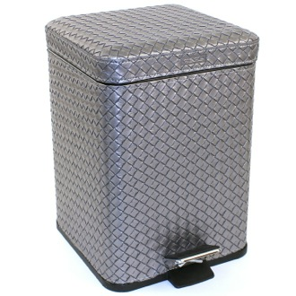 Square Old Silver Faux Leather Waste Bin With Pedal Gedy 6729-77