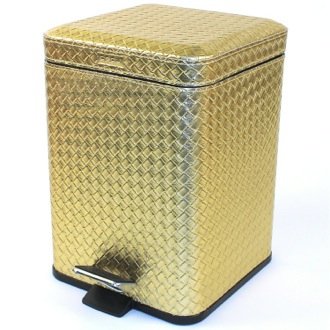 Waste Basket Square Gold Faux Leather Waste Bin With Pedal Gedy 6729-87