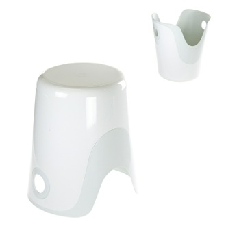 Bathroom Stool Reversible Stool and Laundry Basket in White Finish Gedy 7073-02