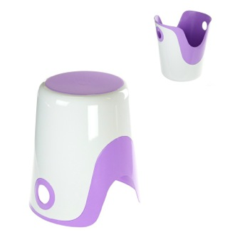 Bathroom Stool Reversible Stool and Laundry Basket in White and Lilac Finish Gedy 7073-49