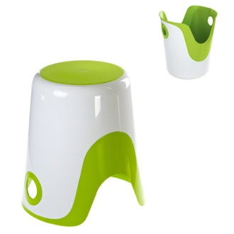 Bathroom Stool Reversible Stool and Laundry Basket in White and Green Finish Gedy 7073-60