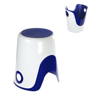 Bathroom Stool Reversible Stool and Laundry Basket in White and Blue Finish Gedy 7073-89