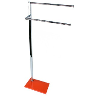 Towel Stand Chrome Towel Stand with Orange Thermoplastic Resins Base Gedy 7831-67