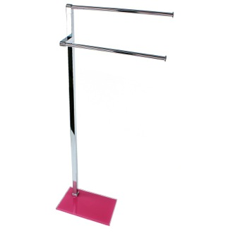 Towel Stand Chrome Towel Stand with Pink Thermoplastic Resins Base Gedy 7831-76
