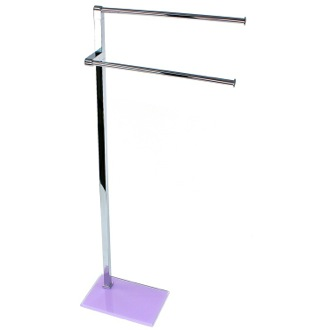 Towel Stand Chrome Towel Stand with Lilac Thermoplastic Resins Base 7831-79 Gedy 7831-79