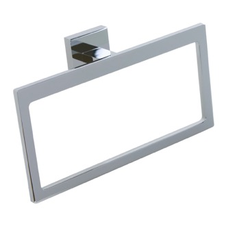 Modern Rectangular Chromed Brass and Cromall Towel Ring Gedy A070-13