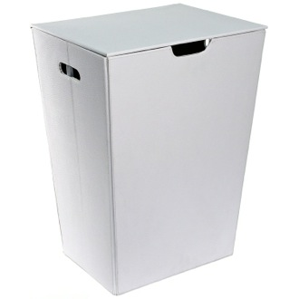Rectangular Laundry Basket Made From Faux Leather in White Finish Gedy AC38-02