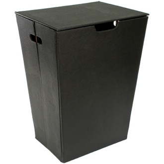 Rectangular Laundry Basket Made From Faux Leather in Wenge Finish Gedy AC38-19
