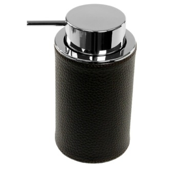 Round Soap Dispenser Made From Faux Leather In Wenge Finish Gedy AC80-19