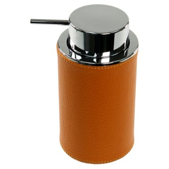 Round Soap Dispenser Made From Faux Leather In Orange Finish Gedy AC80-67